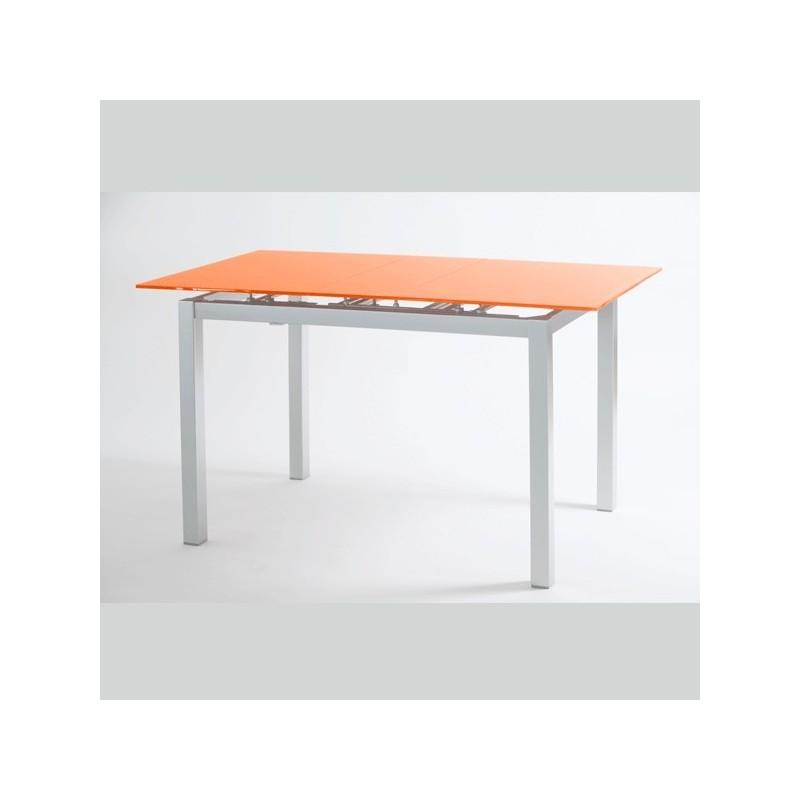Mesa de cocina modelo carla extensible y con tapa de vidrio for Mesas para cocina extensibles