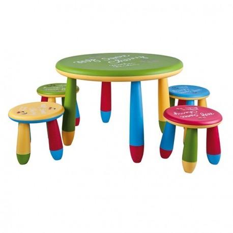 Conjunto mesa infantil redonda y taburetes de colores