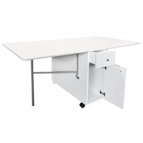 Mesa plegable con alas nari cajones - Mesa cocina con cajon ...