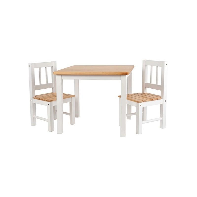 Mesa infantil con sillas en madera blanca for Mesa y sillas madera