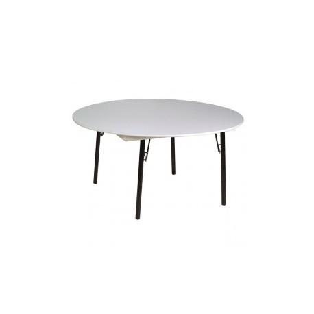 Mesa plegable redonda fabricada en melamina for Mesa plegable redonda